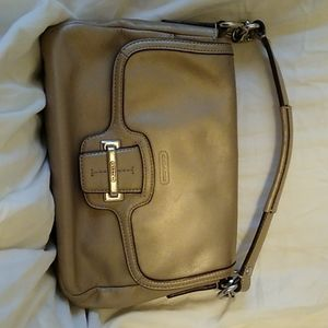 Gold leather COACH purse